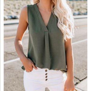 NWT Split Neckline Pleated Olive Tank Top Shirt